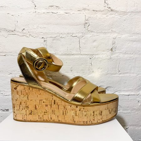 [Pre-loved] Gianvito Rossi Metallic Wedges - Gold