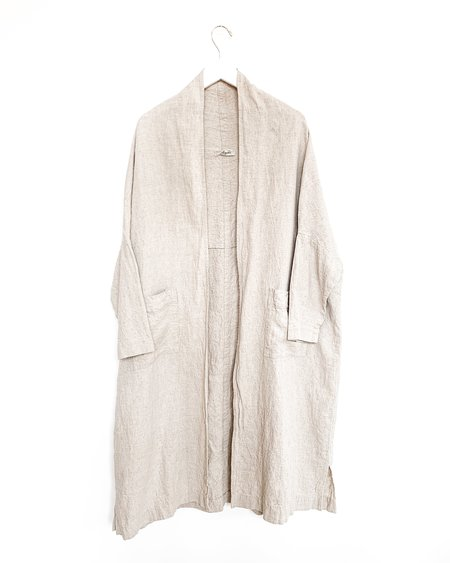 ICHI ANTIQUITES Linen Long Cardigan - Natural
