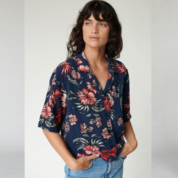 Stateside Hawaiian Floral Print Camp Shirt