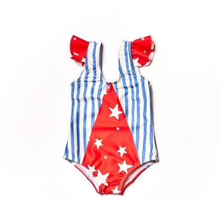 kids Noe & Zoe Olympic Swim Suit - Blue Stripes