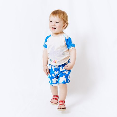 kids Noe & Zoe Comfy Bermuda Short - Blue Clouds