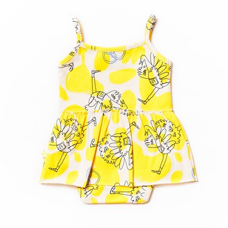 kids Noe & Zoe Tank Body with Skirt - Yellow Ostrich