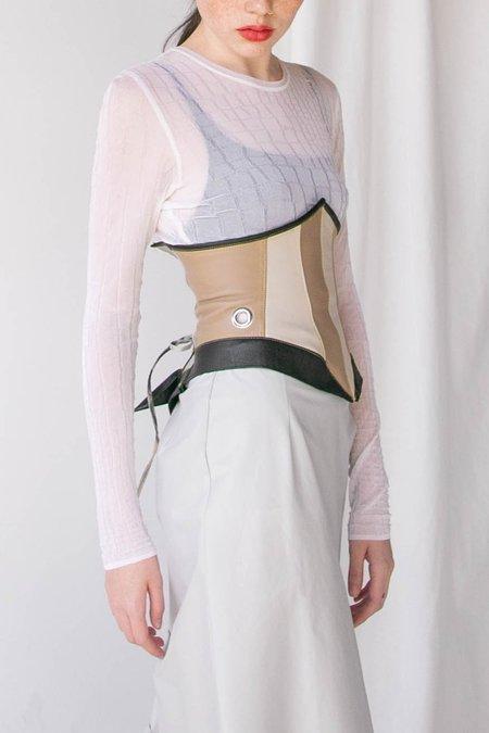 Alexa Stark Neutral Leather Panel Corset