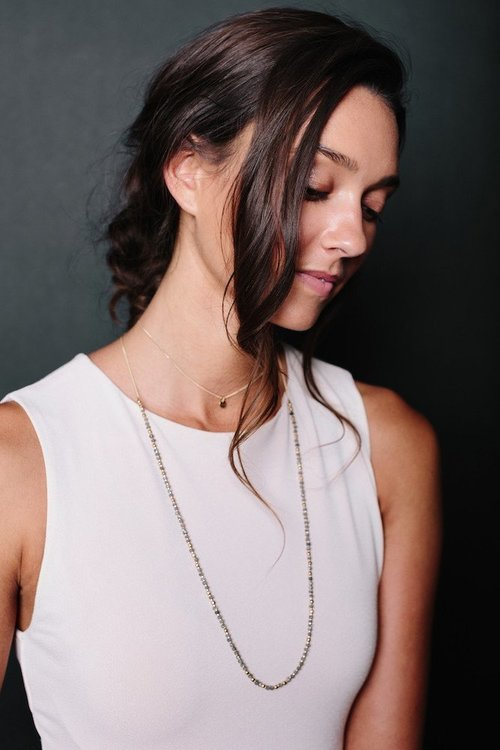 Tess+Tricia Faceted Labradorite + Gold Delicate Wrap Layering Necklace