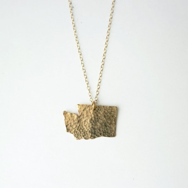 Oh So Antsy Large WA State Necklace - 14K Gold