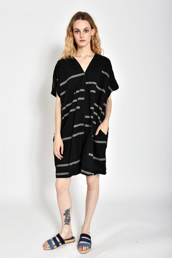 Uzi NYC Printed V-neck Dress - Broken Black