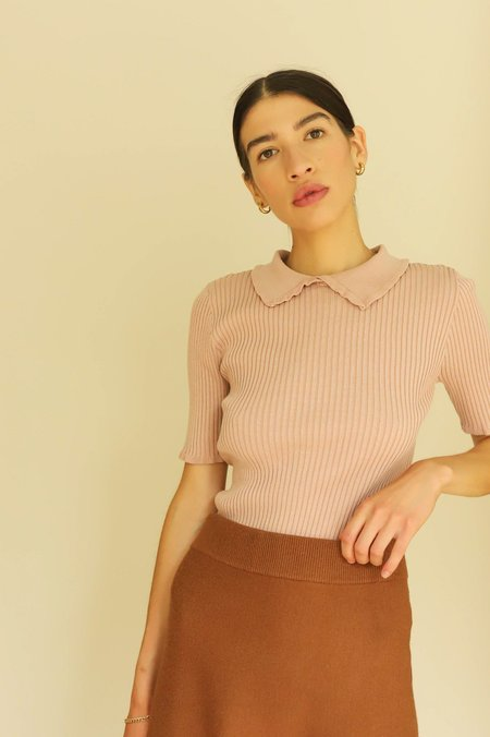 En Saison Ribbed Collar Top - Dusty Pink
