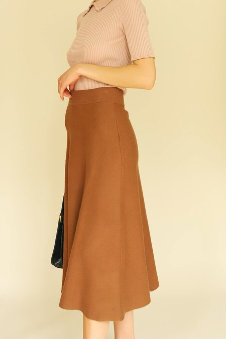 LUCY PARIS Madeline Knit Circle Skirt - Brown