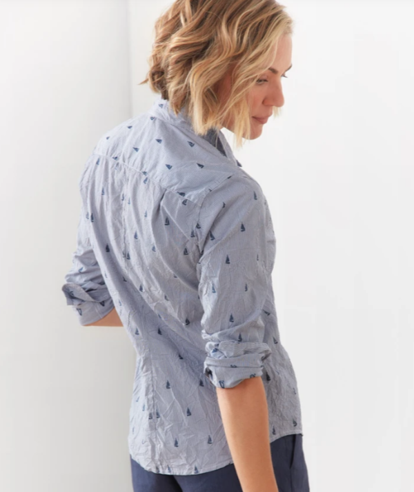 Frank & Eileen Barry Shirt - Navy Stripe