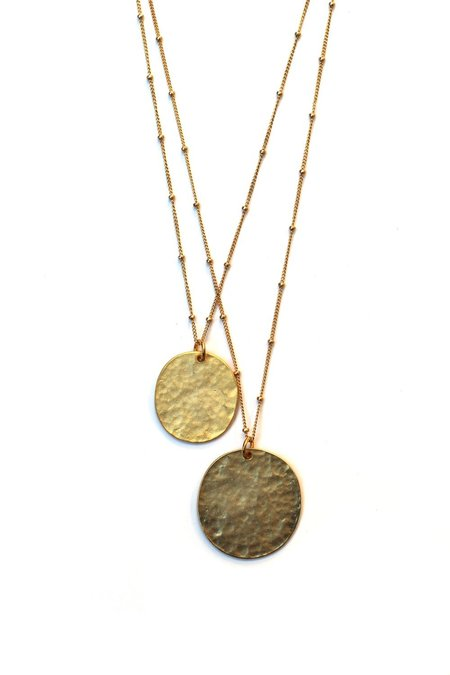 Jennifer Tuton Double Disc Necklace - 14K Goldfill