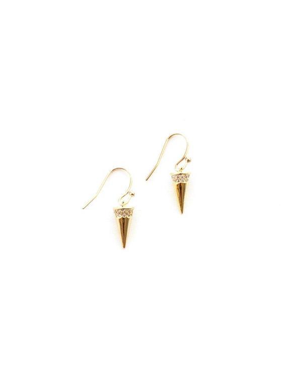 Jennifer Tuton Gold Pave Spikes - 14K Goldfill