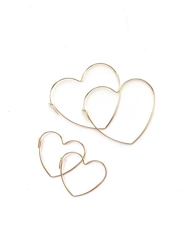 Jennifer Tuton Heart Hoops - Gold Fill