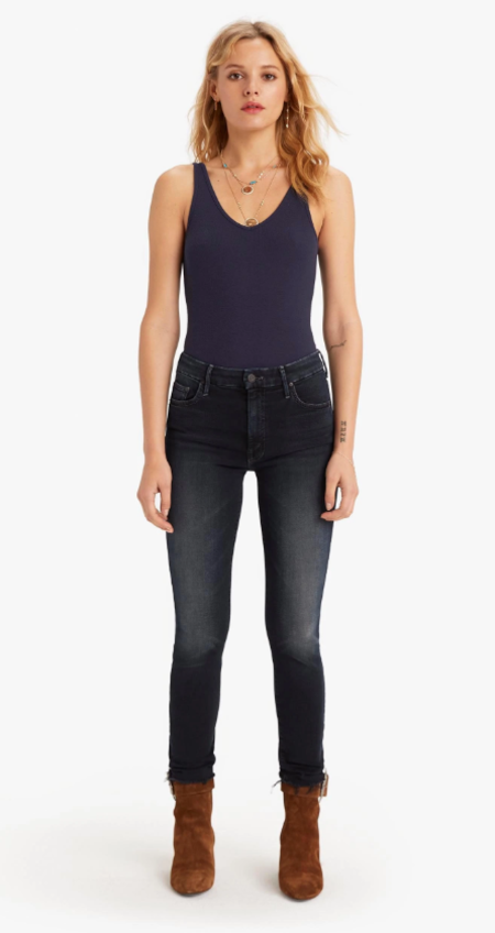 Mother Denim High Waisted Looker Ankle Fray - Last Call