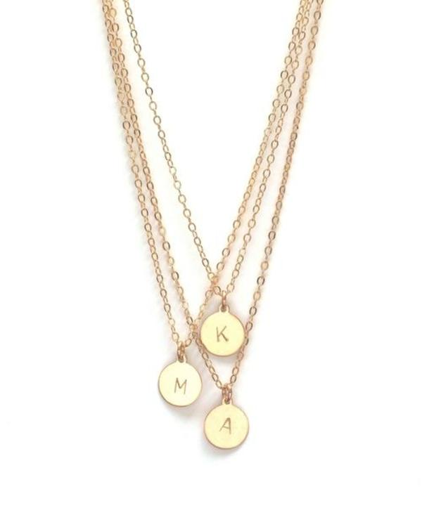 Jennifer Tuton Initial Disc Necklace - 14K Goldfill