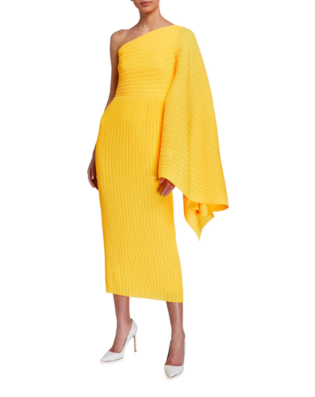 Solace London Lila Midi Dress - Yellow