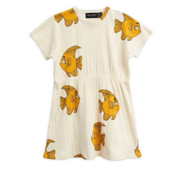 Kids Mini Rodini Fish Dress - White