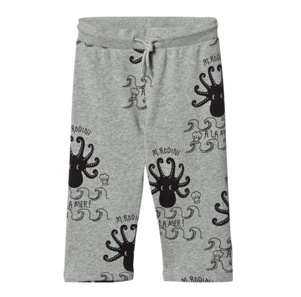 Kids Mini Rodini Octopus Sweatpant - Gray