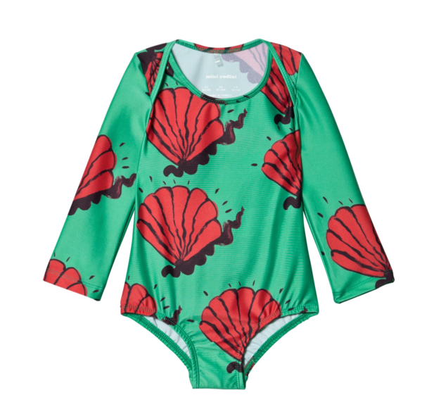 Kids Mini Rodini Shell Long Sleeve Swimsuit - Multi