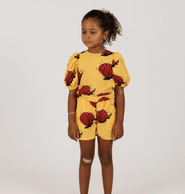 Kids Mini Rodini Shell Woven Blouse - Yellow