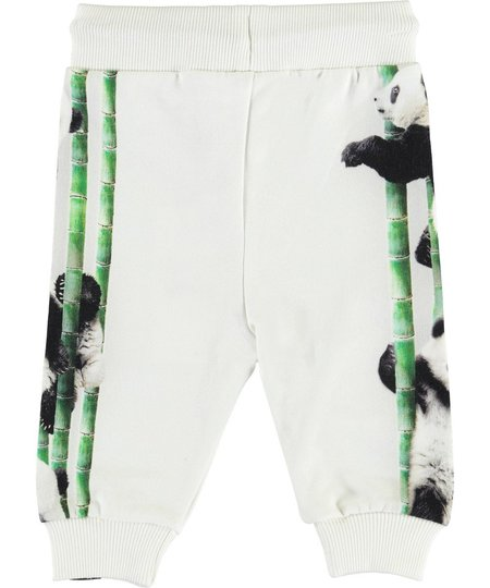 kids Molo Sol Soft Pants in Climbing Panda - white