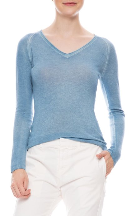 Avant Toi Off Gauge V-Neck Sweater - CHAMBRAY
