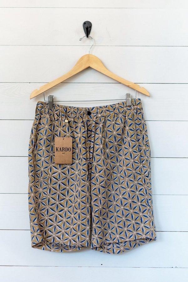 Kardo Sid Medallion Shorts - Ochre/Blue