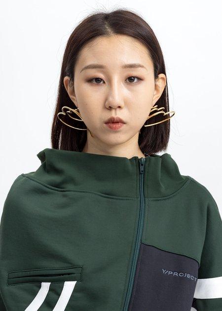 Y/project Gold Heart Hoop Upside Down Earrings - Gold