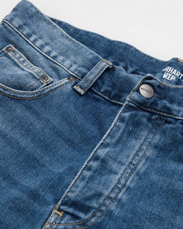 Carhartt Wip Pantalón Corto Newell - Blue Mid Worn Wash