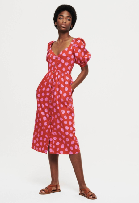Borgo de Nor Marian Midi Dress - Red/Pink