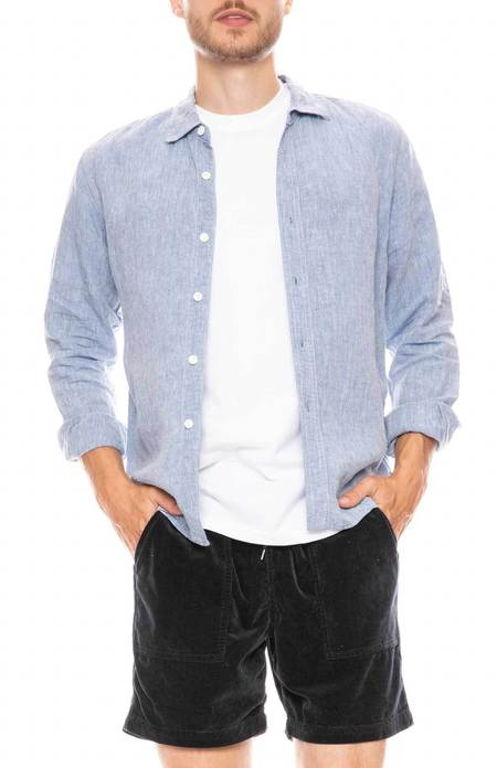 RON HERMAN CALIFORNIA Linen Chambray Shirt - Blue