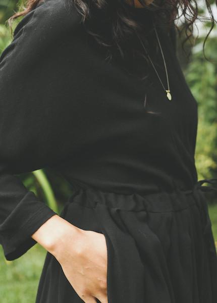 Black Crane - Pleated Dress in Black
