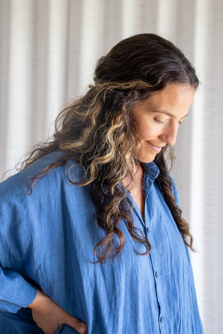 ICHI ANTIQUITES Linen Washer Dress - Ink Blue Linen