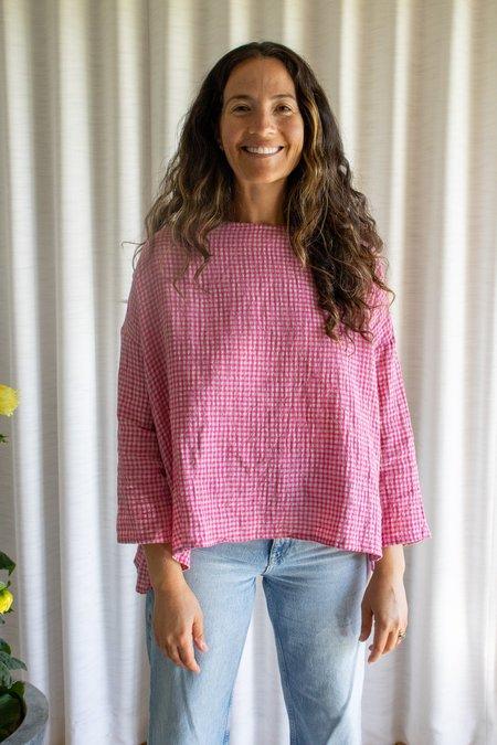 ICHI ANTIQUITES Boil Washer Gingham Pullover - Pink