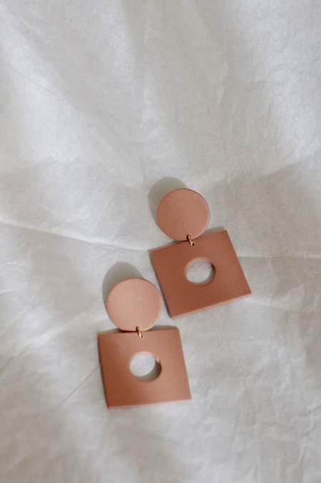 Xenia Studio Window Poly Clay Earrings - Dusty Rose