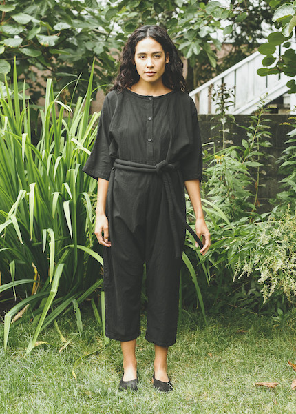 Uzi -  Piped Jumpsuit in Black