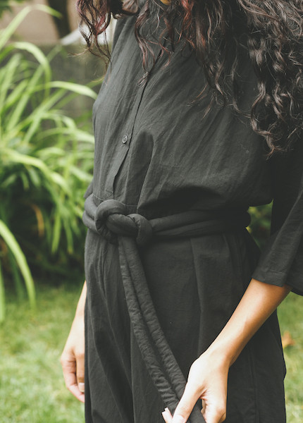 Uzi -  Piped Jumpsuit in Black