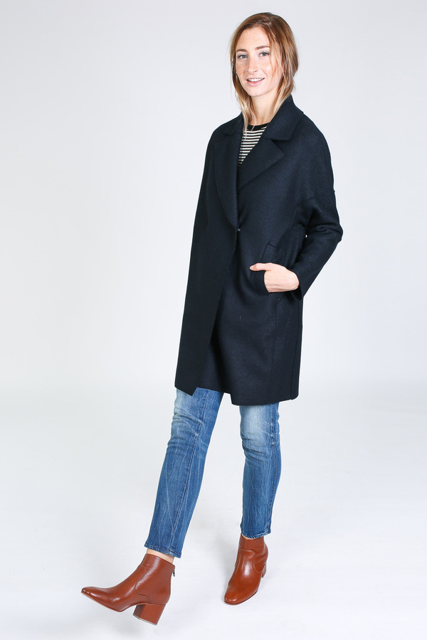 harris wharf london oversized collar coat in dark blue garmentory. Black Bedroom Furniture Sets. Home Design Ideas