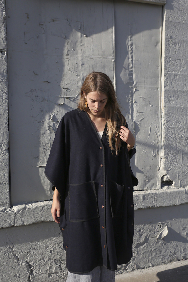 Objects Wihtout Meaning Poncho Coat, Navy