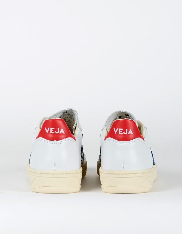 80b2075f7bd4 Veja V-10 Leather Sneaker Extra White Nautico Pekin