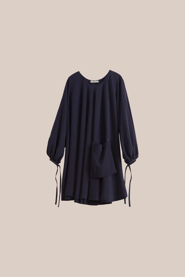 ÁERON Flippy Baby Doll Dress, Dark Blue