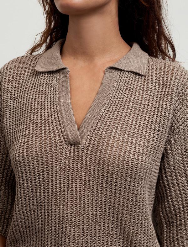 e215948bcd Cristaseya Womens Linen Polo Khaki