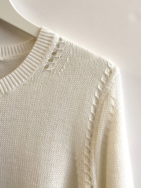 Autumn Cashmere Loose Cropped Crew with Pointelle Detail