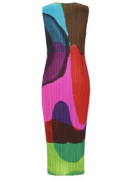 Issey Miyake Energetic Print Midi Dress - Magenta