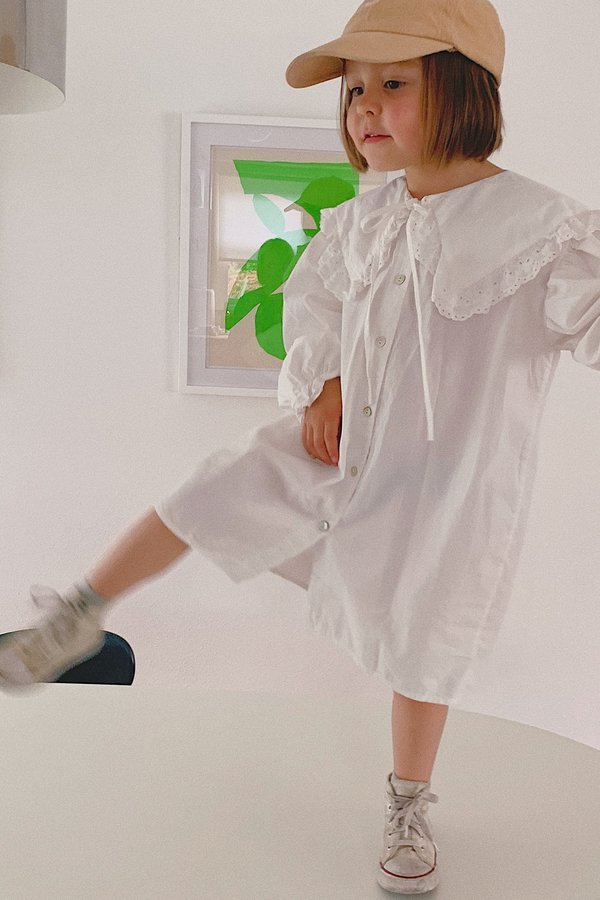 Kids Korean Collective Sailor Ruffle Dress - White