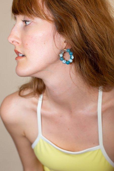 Mirit Weinstock Agate Rainbow Hoops - Turquoise
