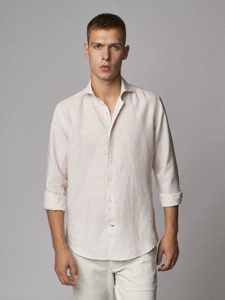 Carpasus linen shirt in stripes - nature