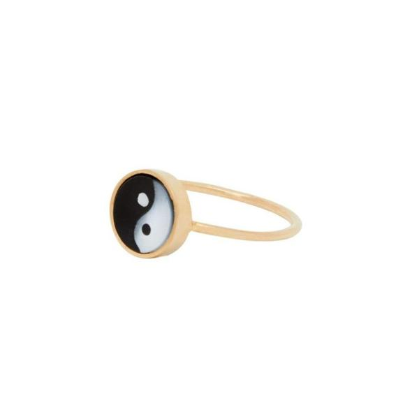 Tarin Thomas Yin Yang Mini Everett Ring with White Mother of Pearl & Black Onyx