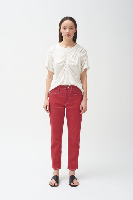 Colovos Red high waisted cropped jean - Red