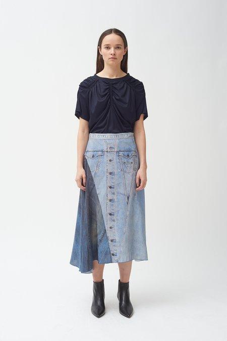 Colovos Silk denim print skirt
