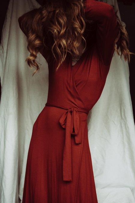 Altar Houseline 3/4 Sleeve Wrap Dress - Brick
